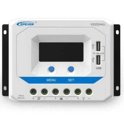 Solární PWM regulátor 12/24 V, 20A, Input 50V, USB (VS2024AU)