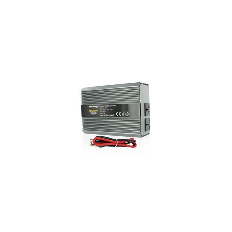 Měnič napětí DC/AC 12V / 230V, 1000W, 2 zásuvky