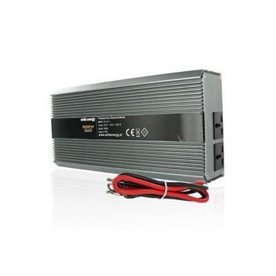 Měnič napětí DC/AC 24V / 230V, 1500W, 2 zásuvky