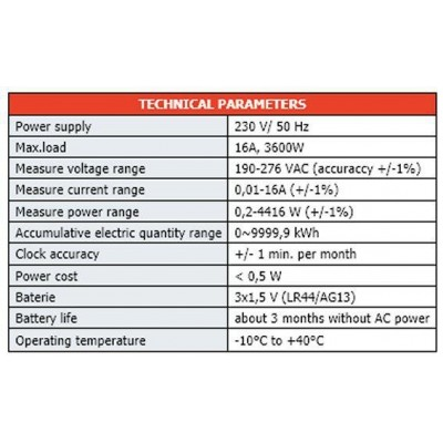 Měřič spotřeby elektrické energie, wattmetr - GridFree 230V/16A